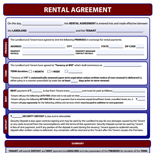 Free Online Lease Agreement Template Schreibercrimewatch.org