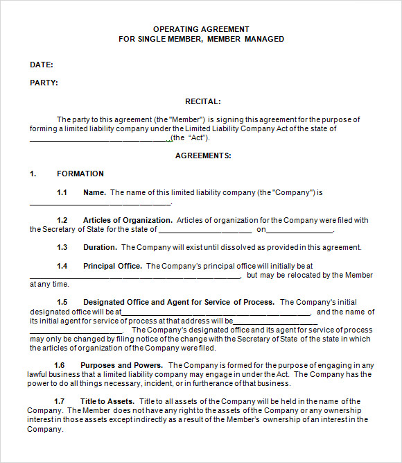 operating agreement template free llc operating agreement template