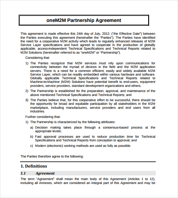 agreement template free partnership agreement template free