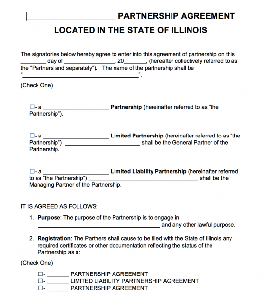 illinois limited partnership agreement template free illinois
