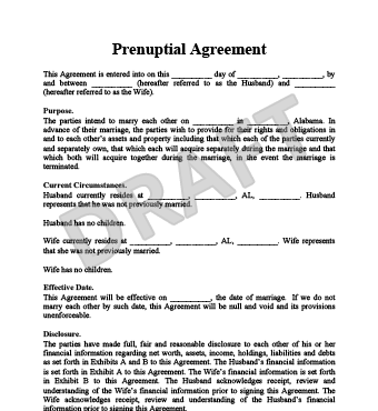 online prenuptial agreement template prenuptial agreement example
