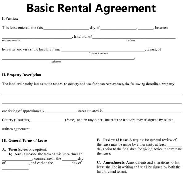 printable rental agreement template printable rental agreement
