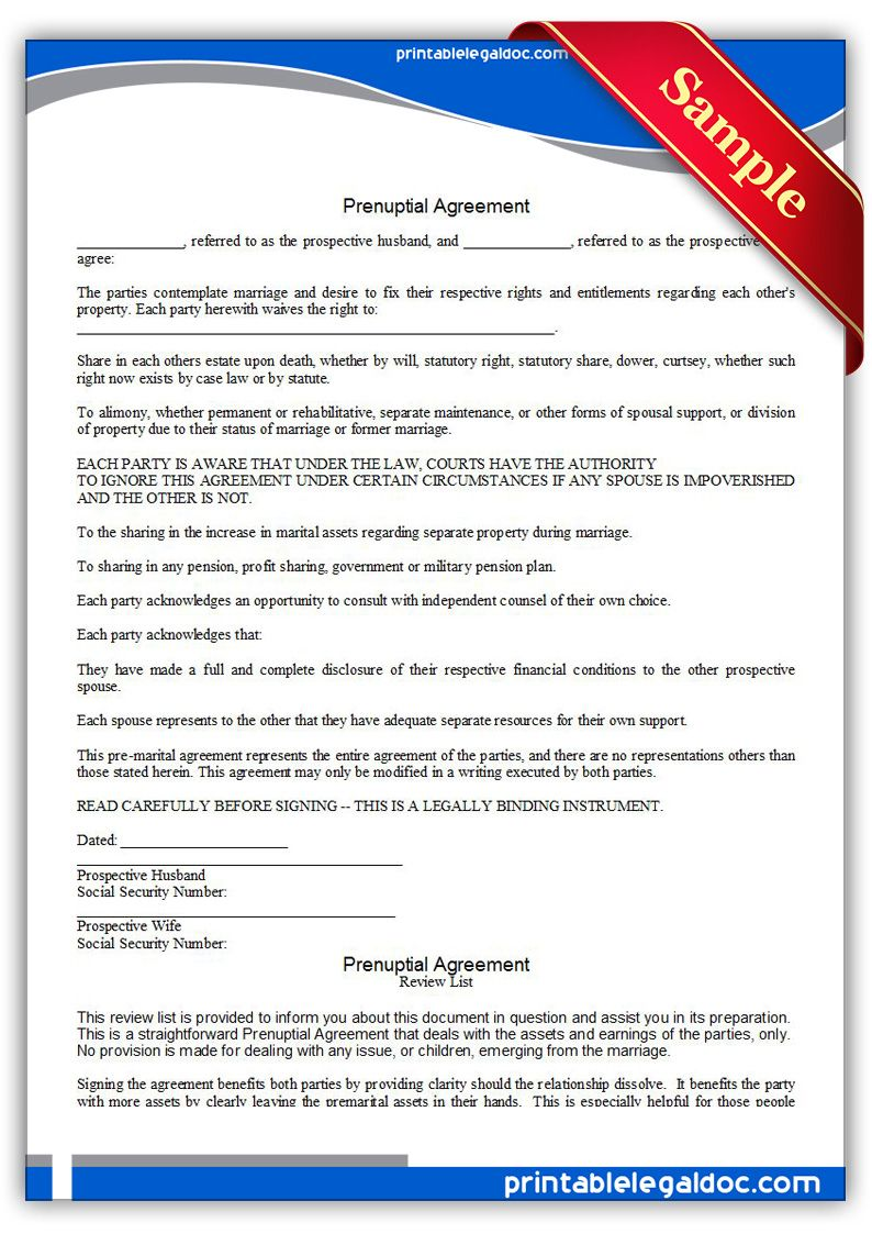 Free Printable Prenuptial Agreement Legal Forms   Free Legal Forms