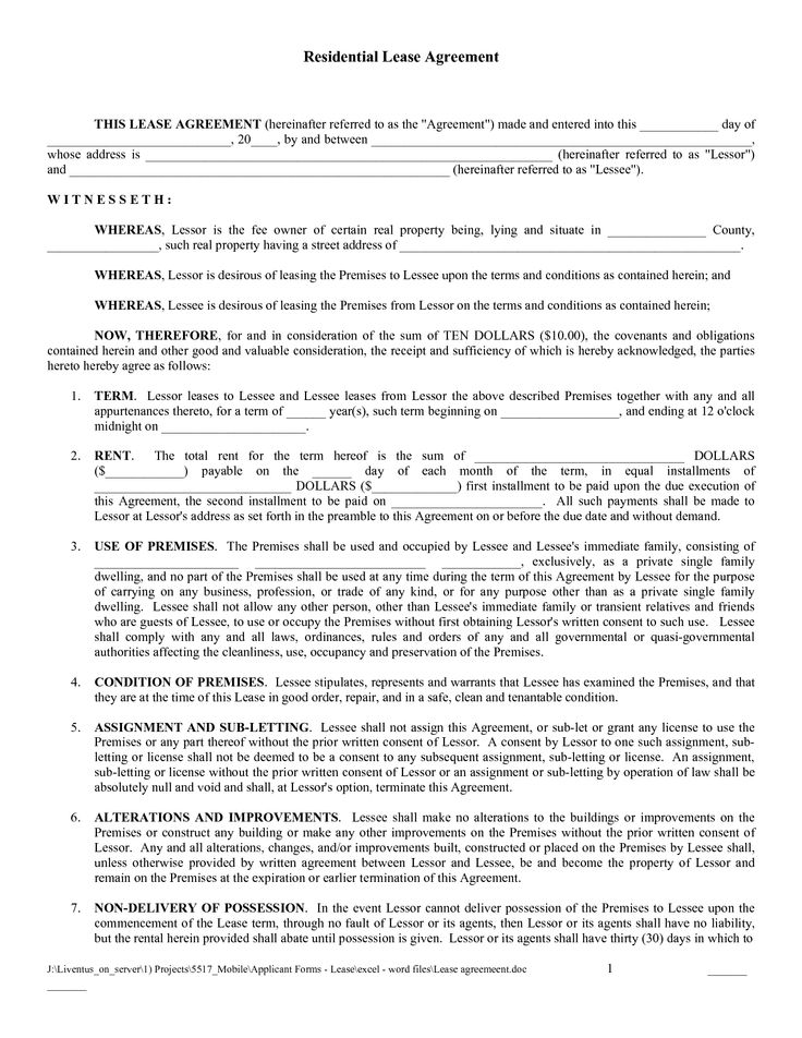 free printable lease agreement template residential lease