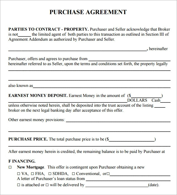 real estate agreement template 8 real estate contract templates