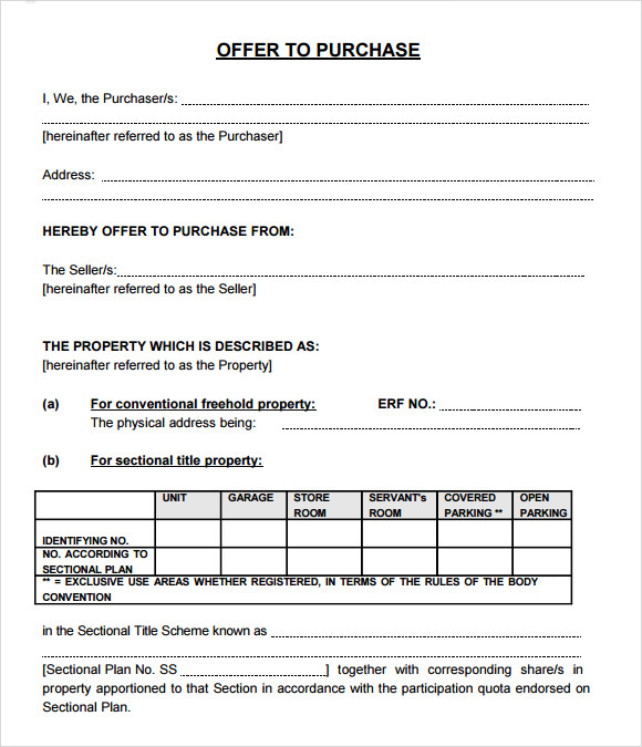 Real Estate Purchase Offer Form Free Fillable PDF Forms | Free