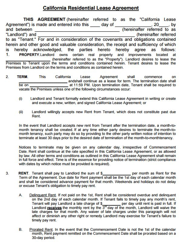 free residential lease agreement template pdf rental agreement