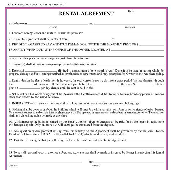 Free Residential Lease Agreement Forms Gtld World Congress