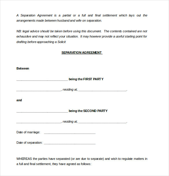 marriage separation agreement template free marriage separation