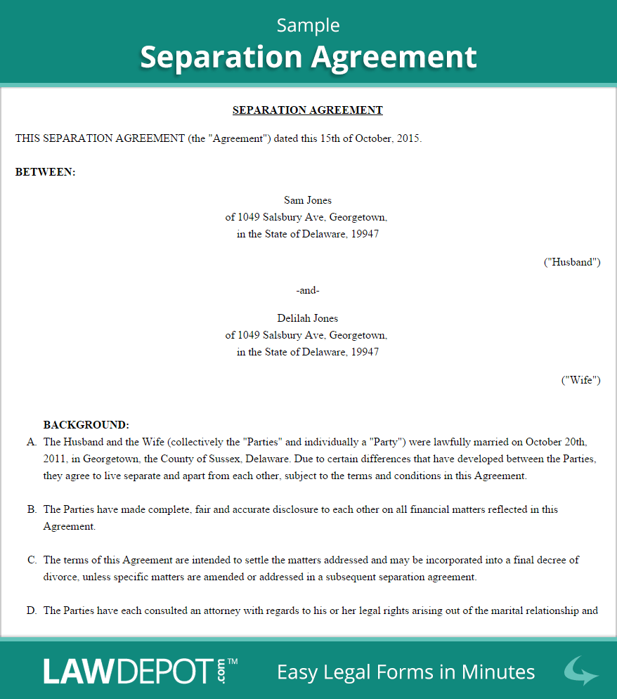 Separation Agreement Template (US)  LawDepot