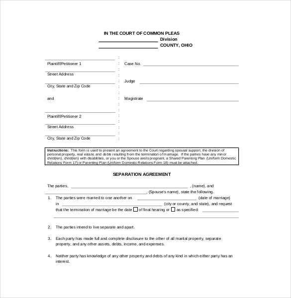 7+ Separation Agreement Form Samples Free Sample, Example Format