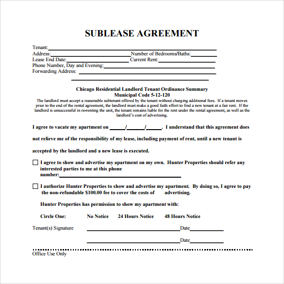 free sublease agreement template sublease agreement template