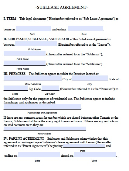 sublease agreement template free free sublease agreement template