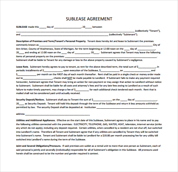 Free Sublease Agreement Template Gtld World Congress