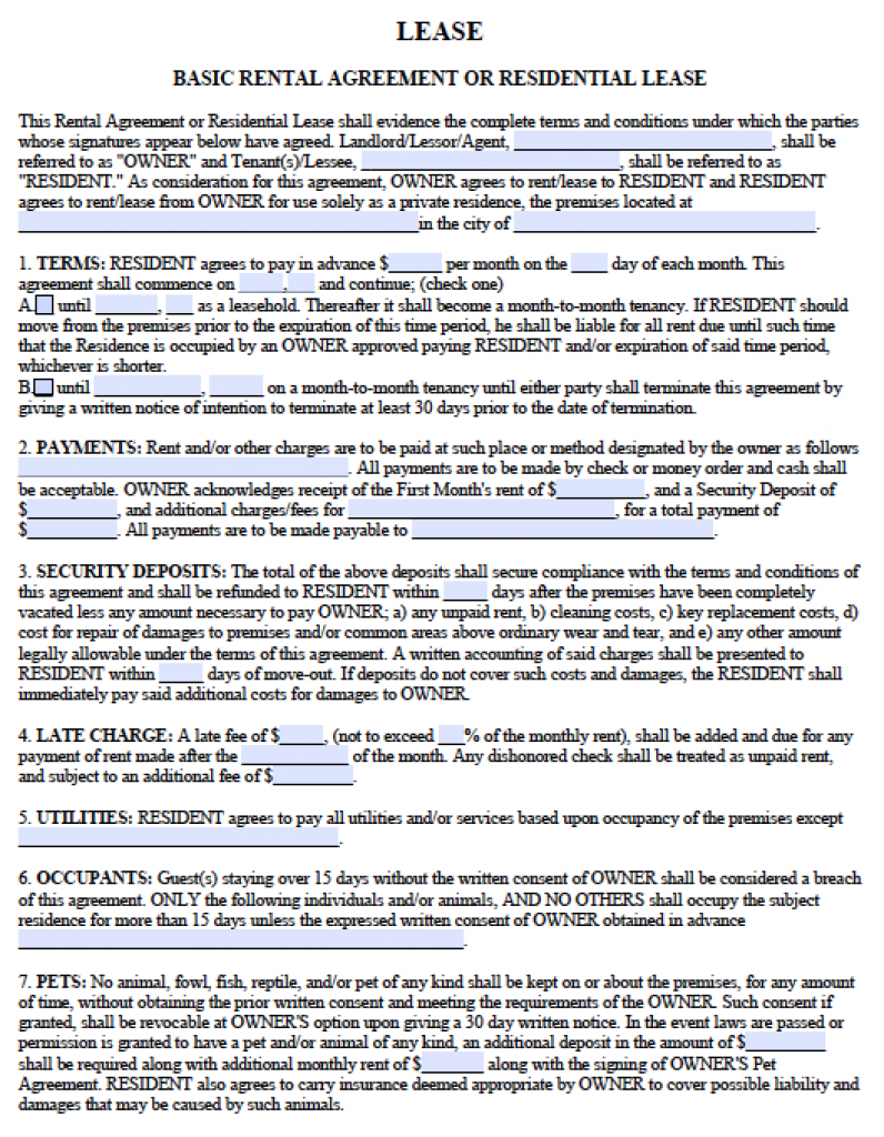Free Georgia Residential Lease Agreement – PDF Template