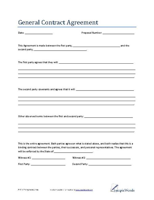 General Contract Agreement Template Business Contract