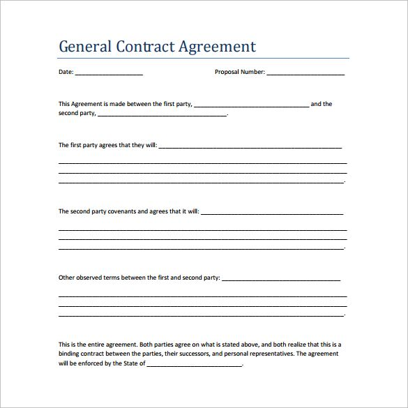 general agreement template pdf sample contract agreement 13 free