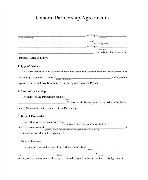 general partnership agreement template general partnership