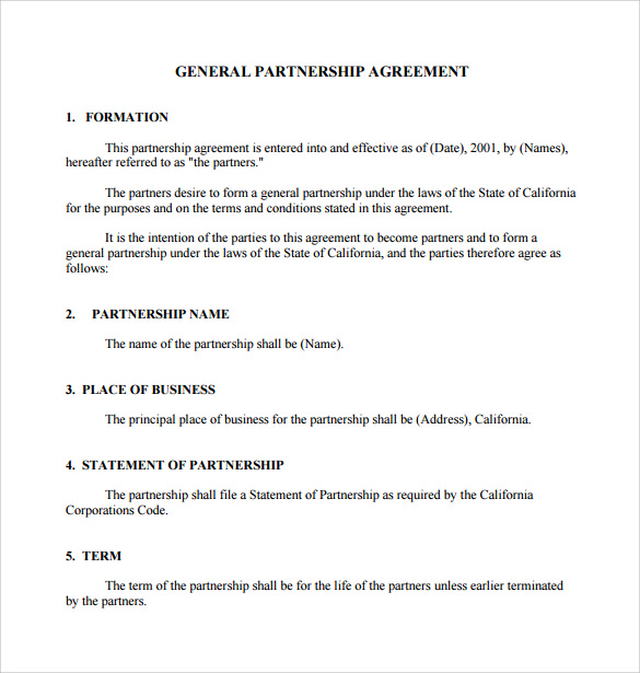 partnership agreement template california sample general