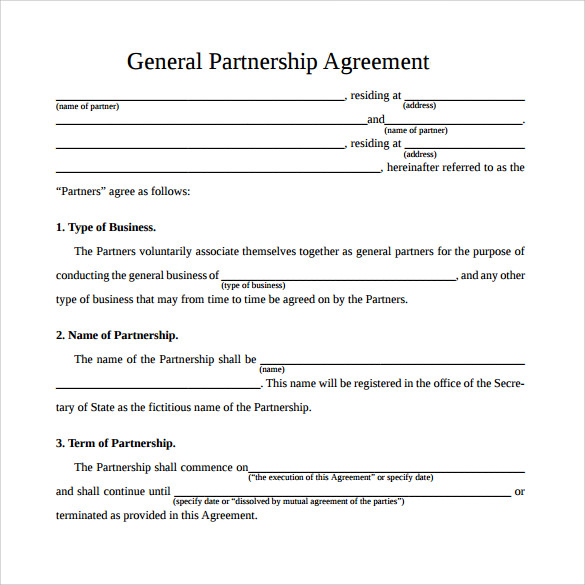 simple general partnership agreement template general partnership