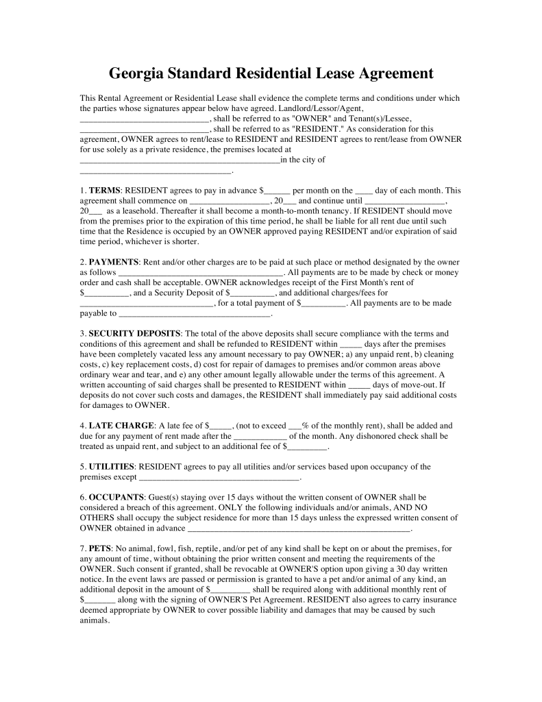 Free Georgia Standard Residential Lease Agreement Template Word