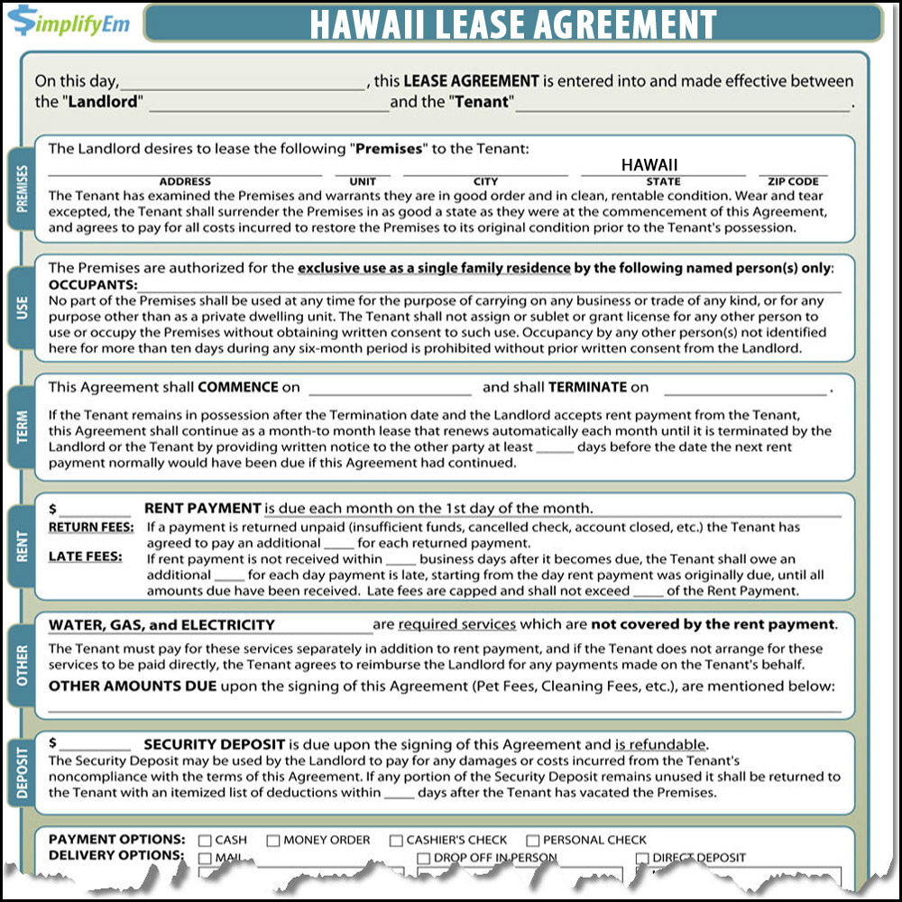 Hawaii Rental Agreement