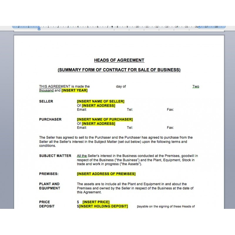 heads of agreement template free download heads of agreement