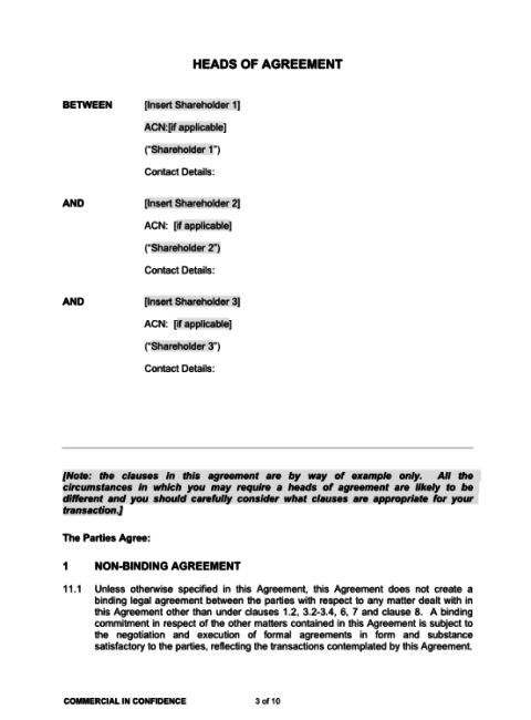 Heads Of Agreement Template | Bayard Lawyers