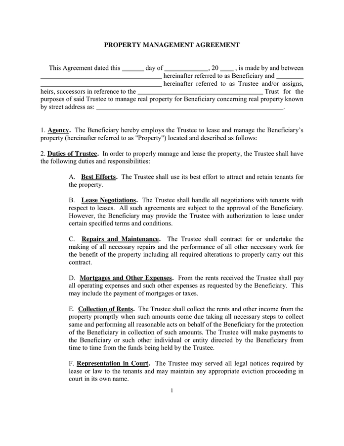 hoa management agreement template property management agreements