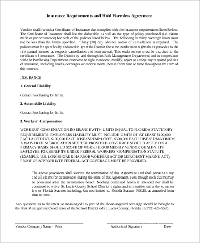 Hold Harmless Agreement Form Sample 8+ Free Documents in Word, PDF