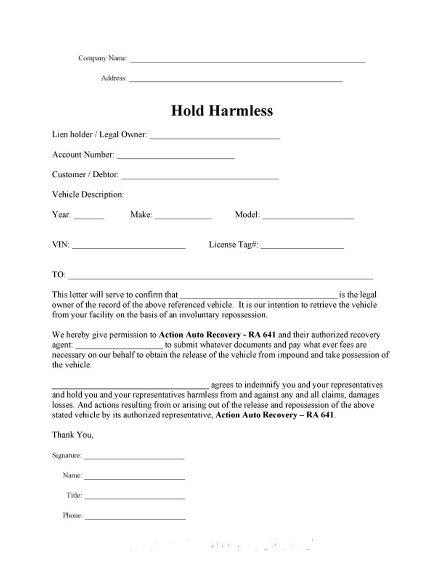 Hold Harmless Agreement Florida Gtld World Congress