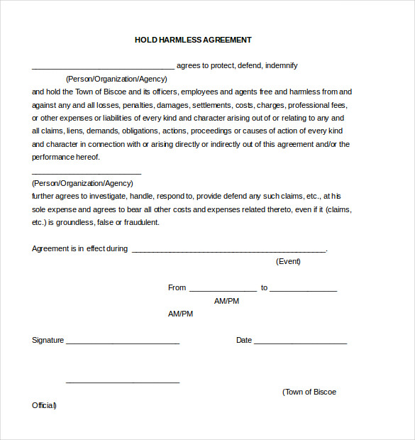 hold harmless agreement template restitution agreement template 9