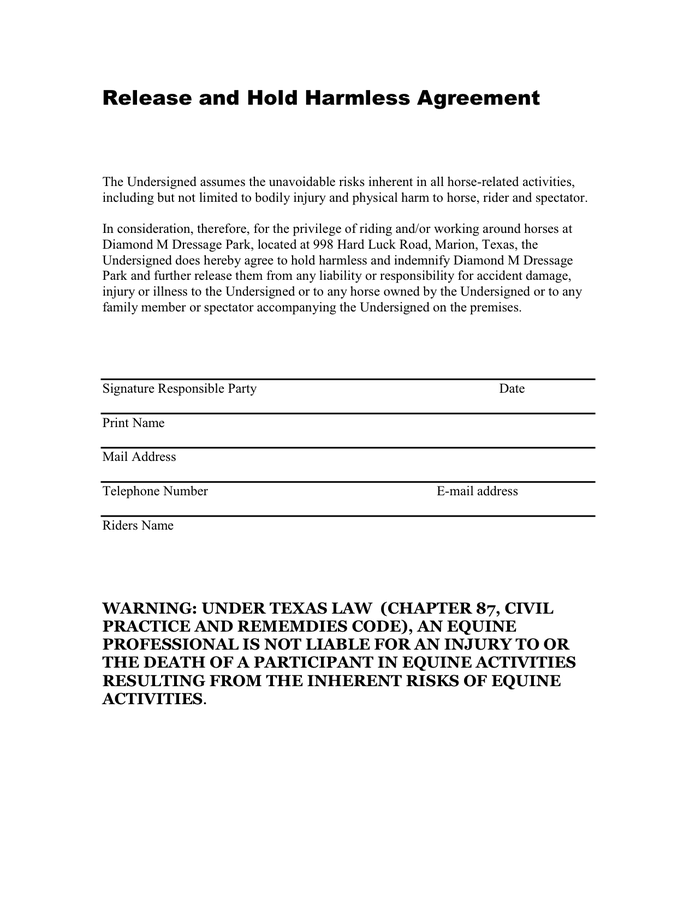 hold harmless agreement template texas waiver of liability and
