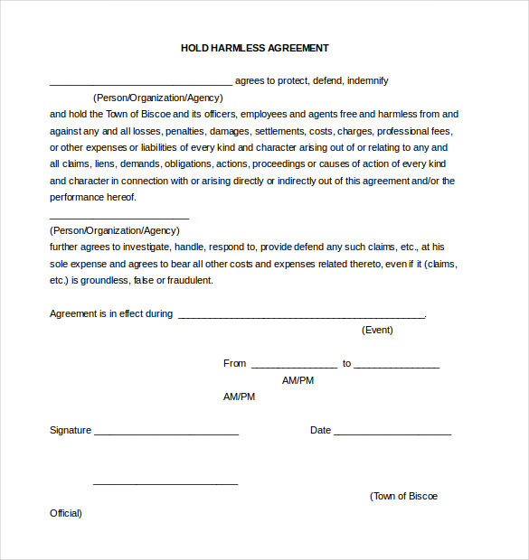 hold harmless agreement texas hold harmless agreement template 13