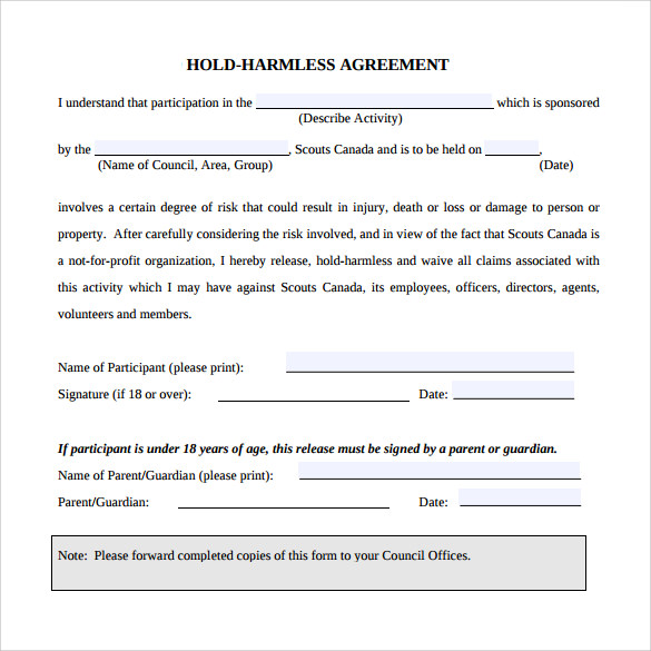 8+ Hold Harmless Agreement Samples, Examples, Templates   Sample