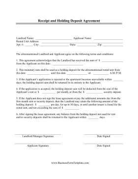 Receipt And Holding Deposit Agreement Template