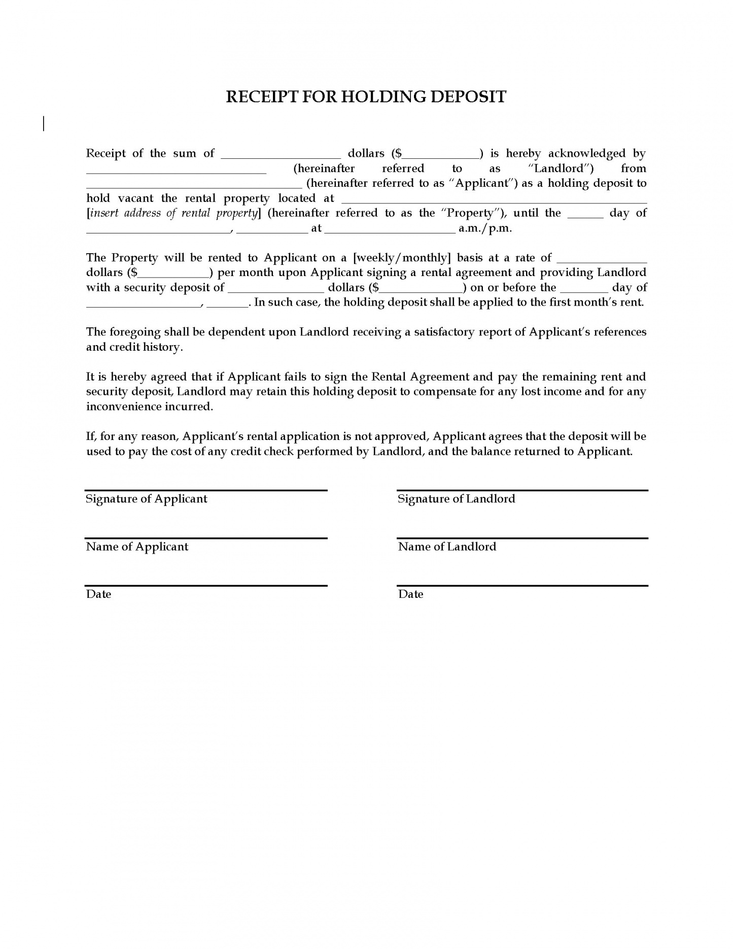 Receipt For Holding Deposit On Rental Property | Legal Forms And