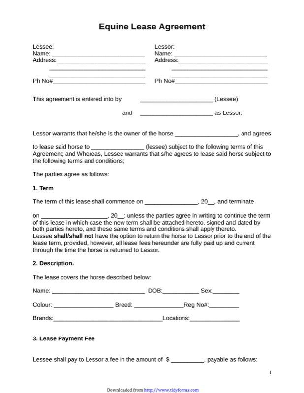horse facility lease agreement template horse lease agreement