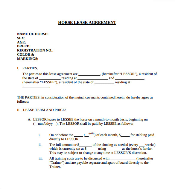 horse lease agreement template horse lease agreement template