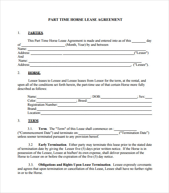 horse lease agreement template sample horse lease agreement 7