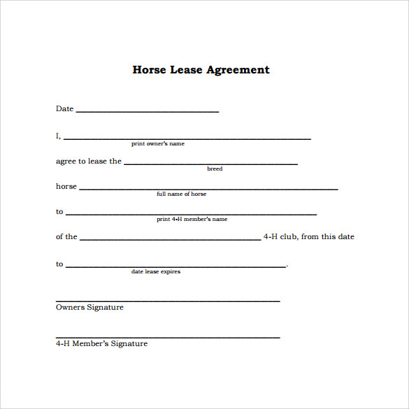 horse trial agreement template easy lease agreement template