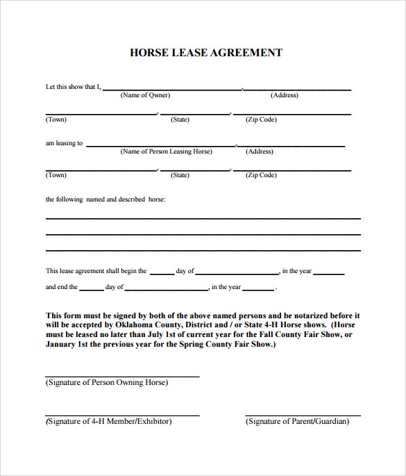 horse trial agreement template sample horse lease agreement 9 free