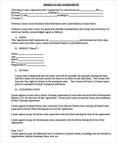 10+ Sample Horse Lease Agreements | Sample Templates