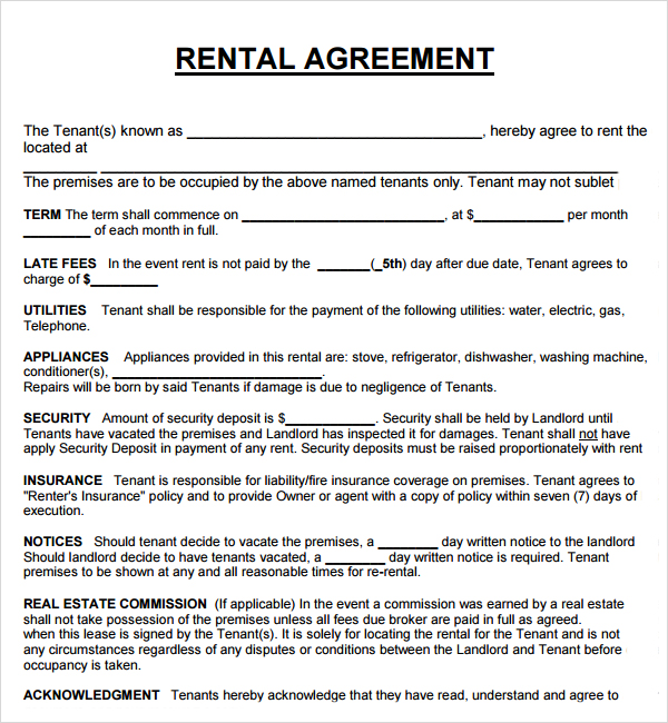 Sample House Rent Agreement Format