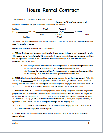 house rental agreement form template home rental agreement