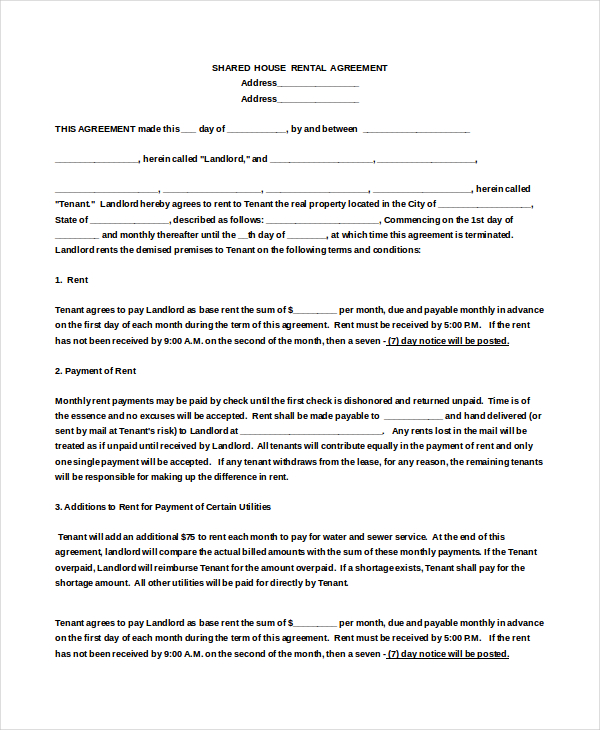 house rental agreement template 18 house rental agreement