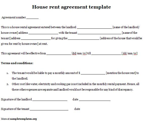 sample house rental agreement template home rental agreement