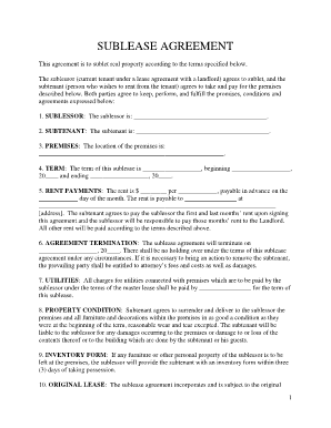 Sublease Agreement Forms and Templates Fillable & Printable