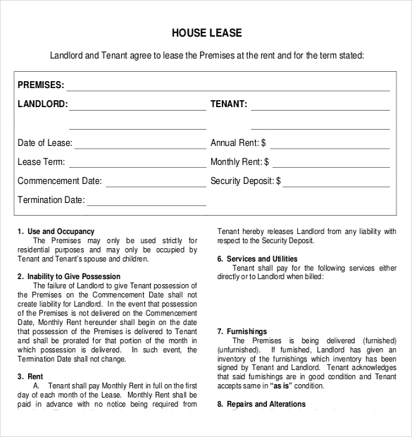 house rental agreement template word house lease agreement
