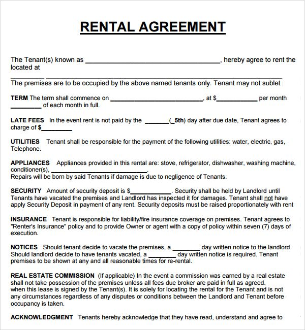 property rental agreement template housing rental agreement sample
